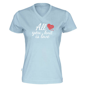 All you knit is love v-hals t-skjorte dame himmelblå