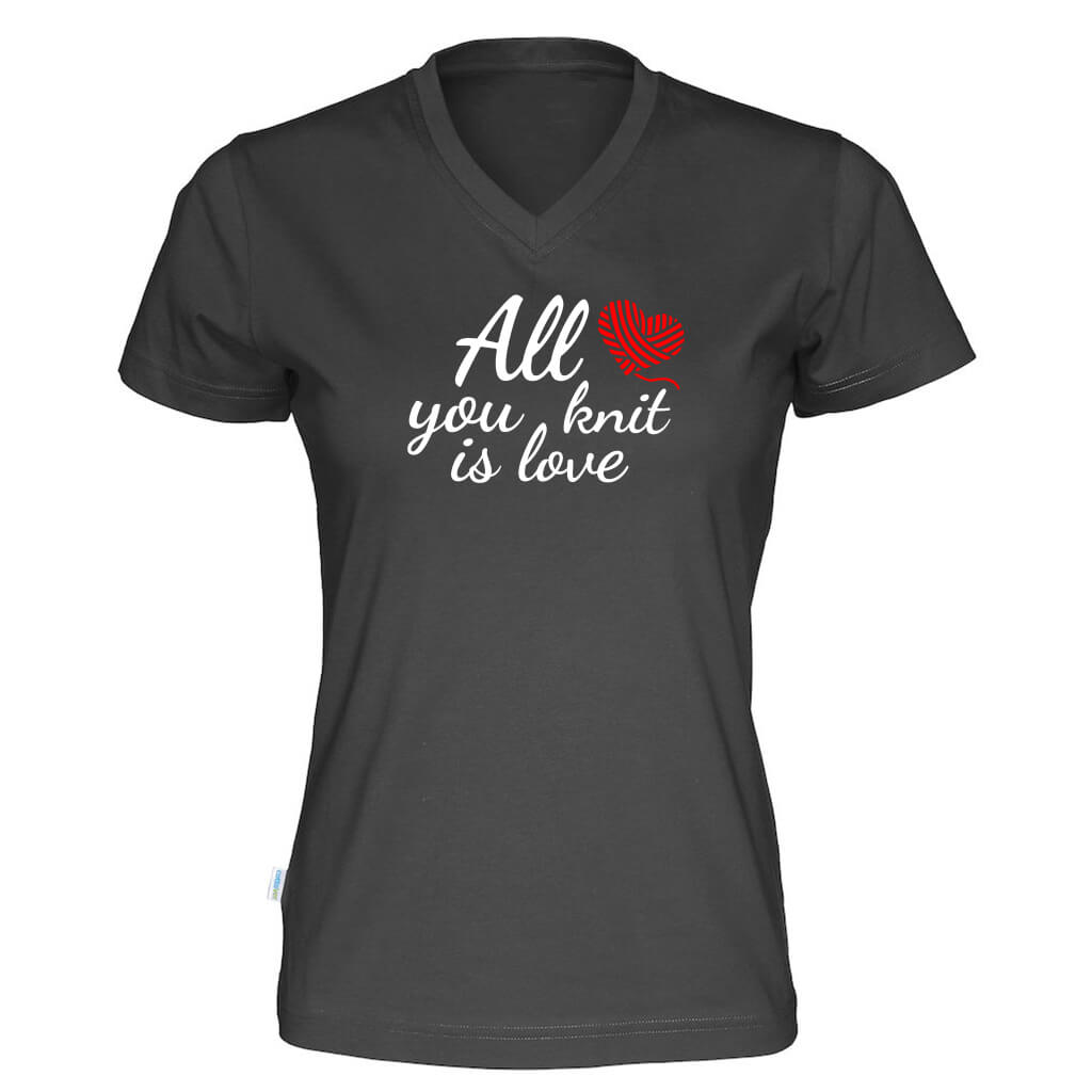 All you knit is love v-hals t-skjorte dame sort