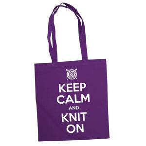 Keep Calm and Knit On bærenett lilla