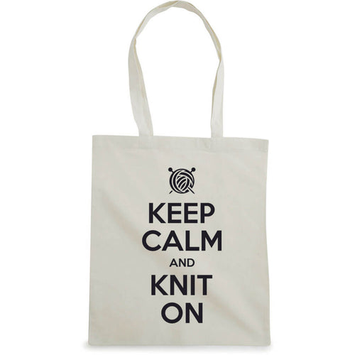 Keep Calm and Knit On bærenett natur