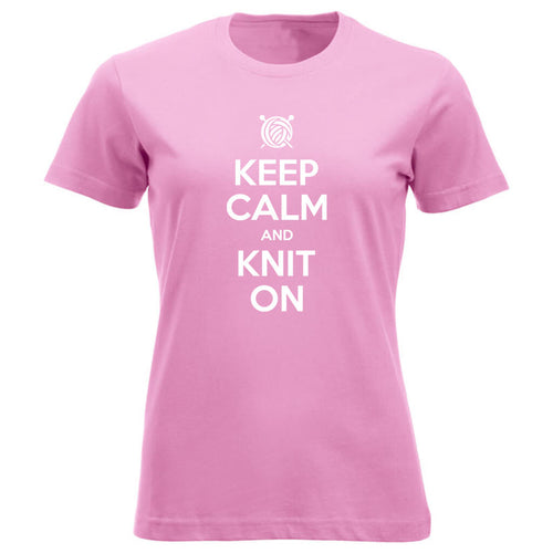 Keep Calm and Knit On klassisk t-skjorte dame rosa