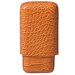 Cigar Case 3ct Brown Croc