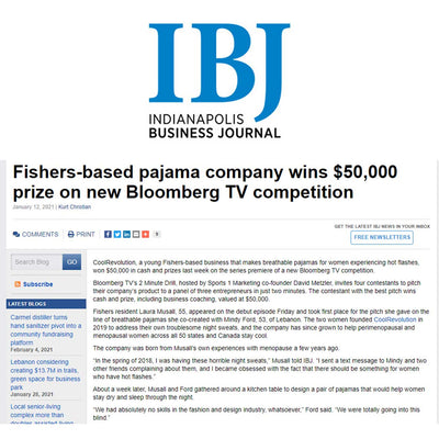 FISHERS-BASED PAJAMA COMPANY WINS $50,000 PRIZE ON NEW BLOOMBERG TV COMPETITION