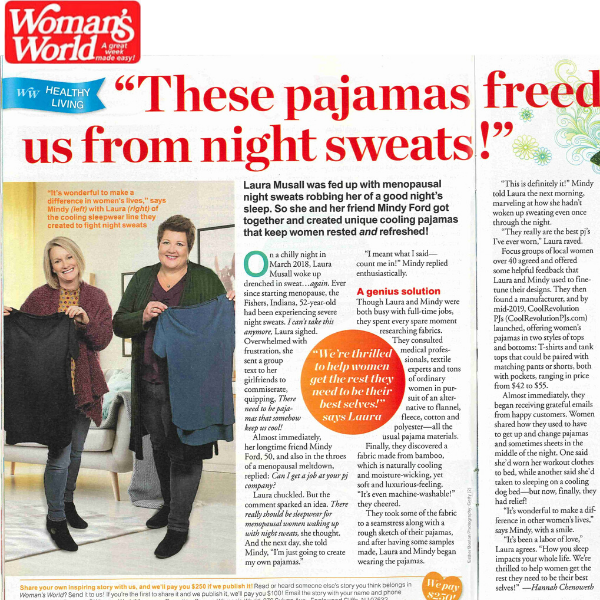 Woman's World story about pajamas for night sweats