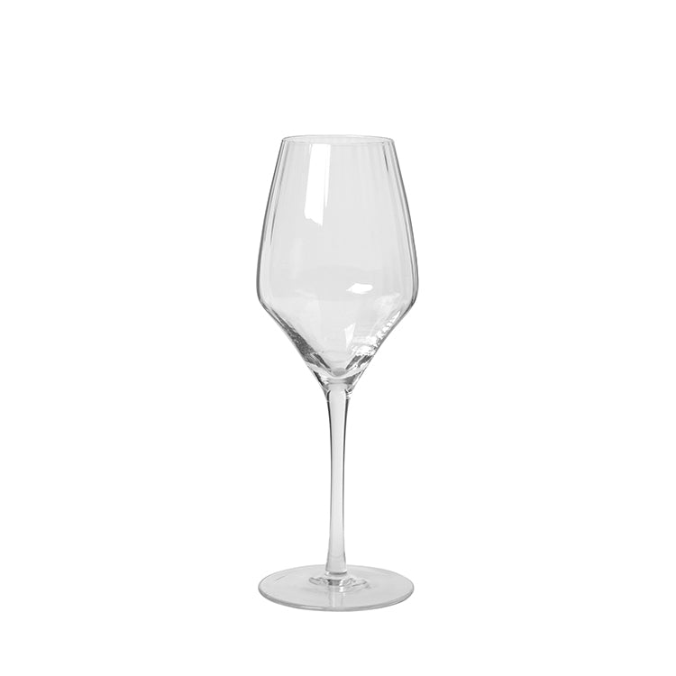 Grooved Clear White Wine Glass