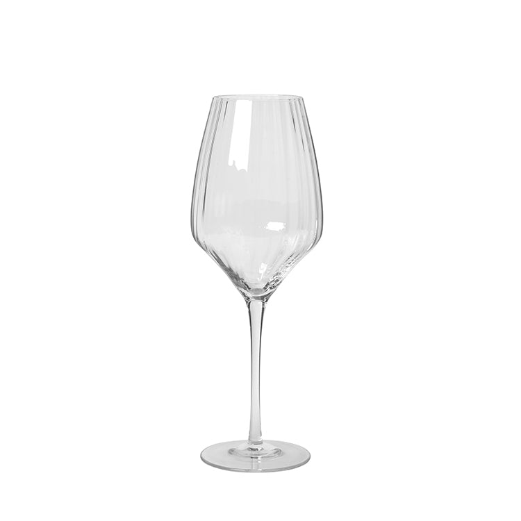 Grooved Clear Red Wine Glass