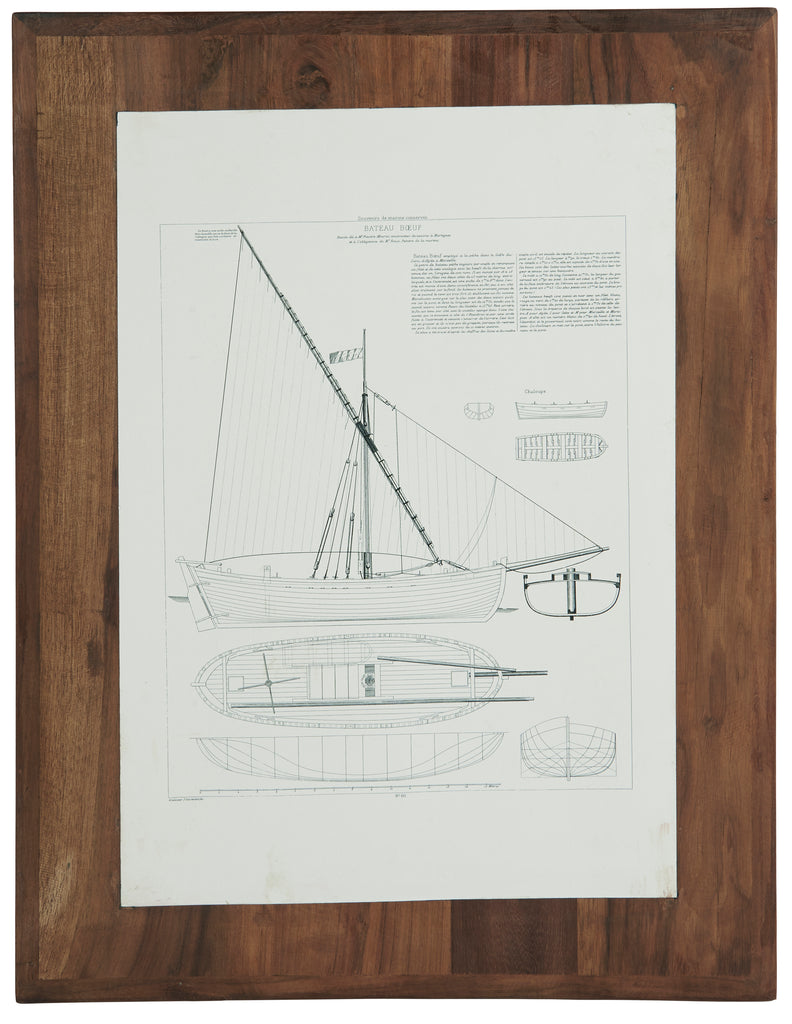 Boat Picture with Wooden Frame