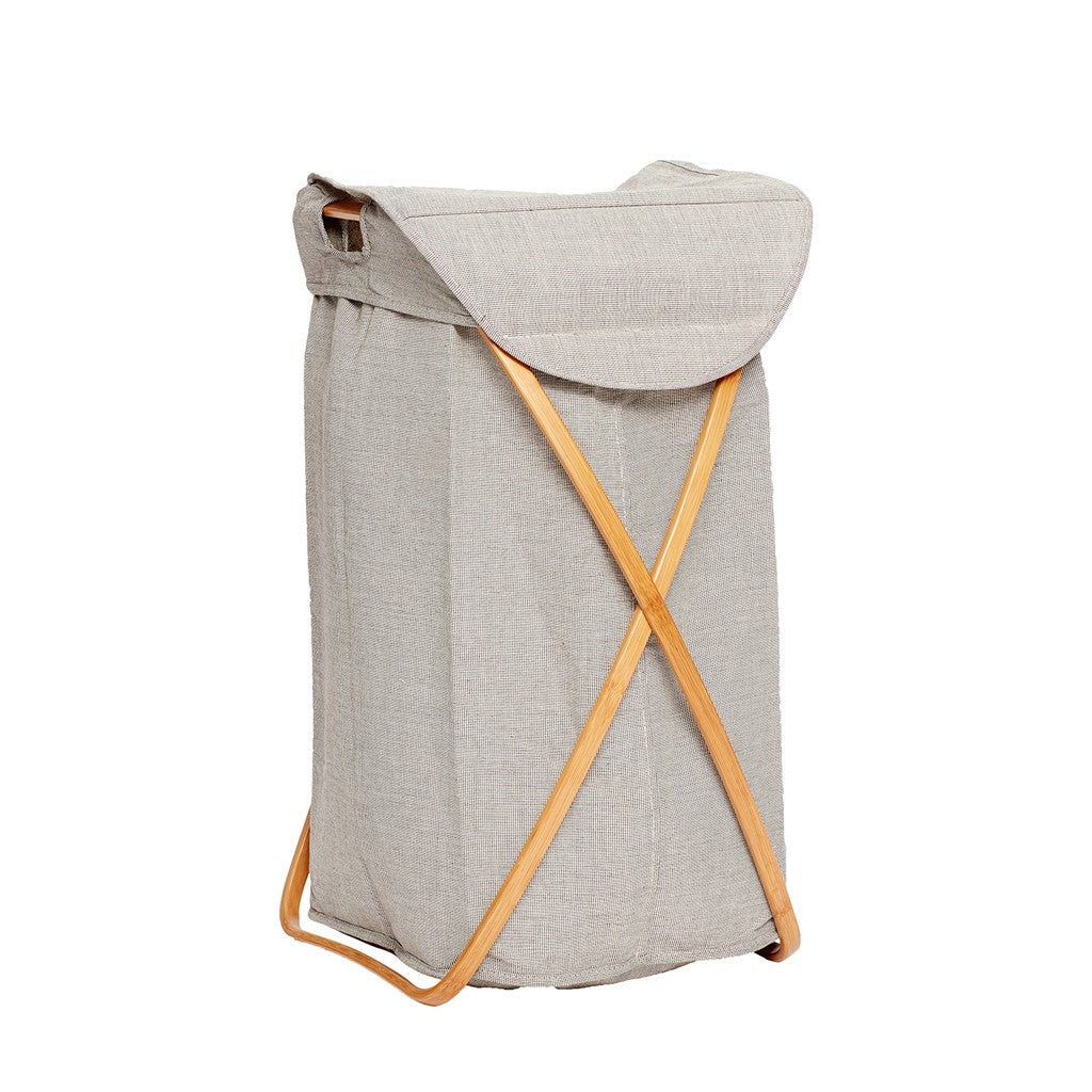 Fabric & Bamboo Grey Laundry Basket