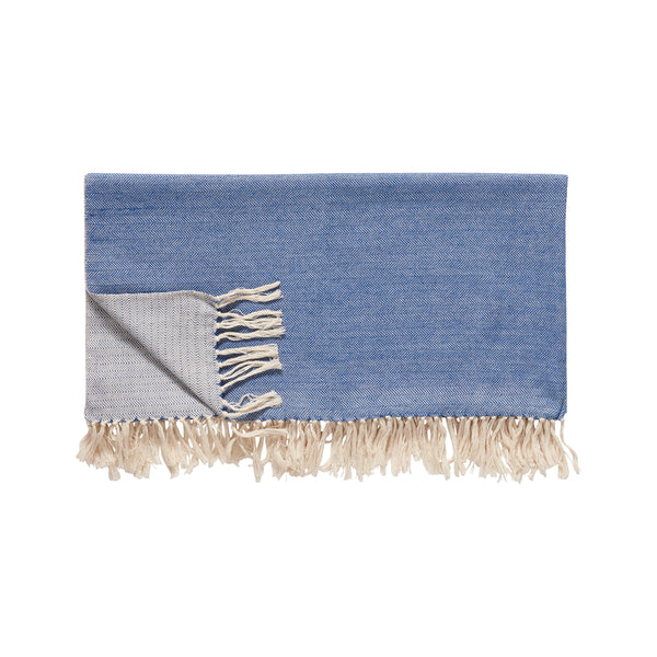 Blue & Off-white Plaid Cotton Throw