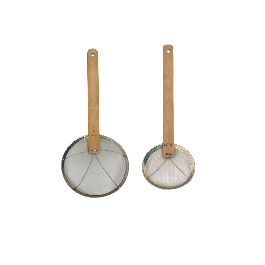 Stainless Steel and Bamboo Sieve
