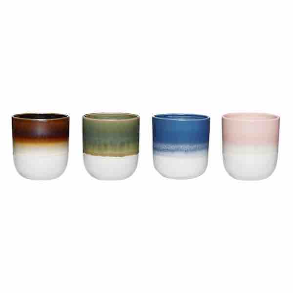 Colourful ceramics cups