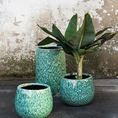 Seagrass Green Earthenware Plant Pot