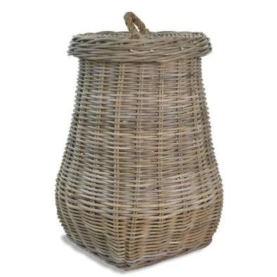 Rattan Laundry Basket With Lid - Large
