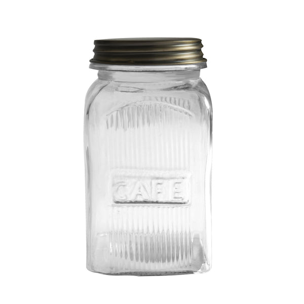 Ribbed Glass Jar - Cafe