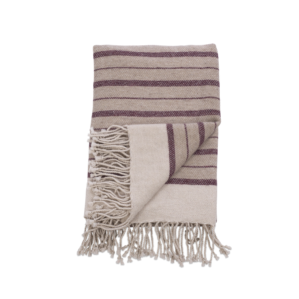 Stone & Burgundy Wool Throw