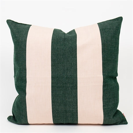 Stripy Cotton Cushion 50x50 -  Green
