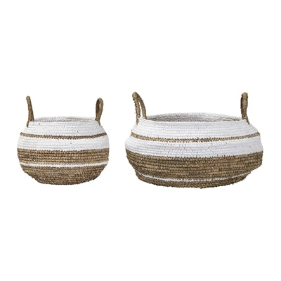 Natural/White Raffia Basket