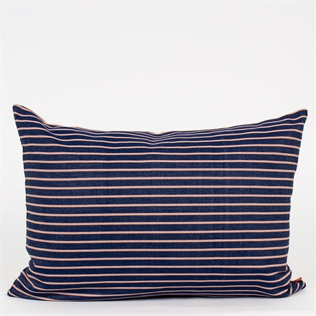 Stripy Cotton Cushion 50x70 -  Blue/Pink