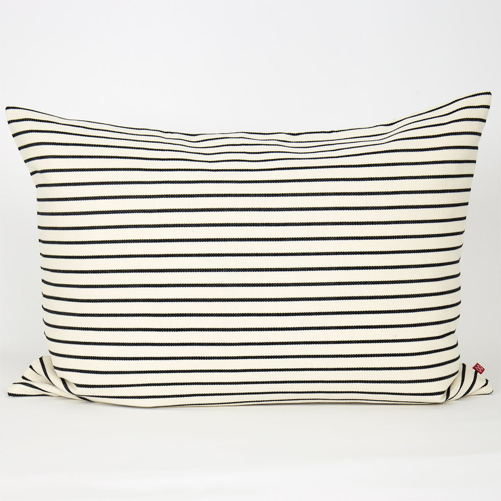 Stripy Cotton Cushion 50x70 -  Black and White