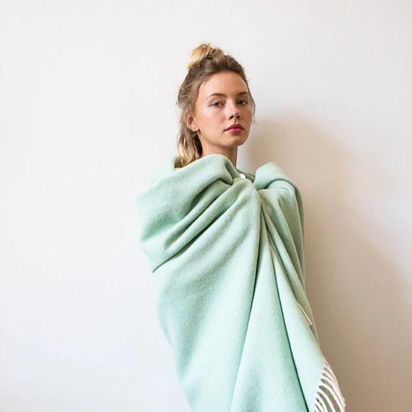 100% Wool Blanket -  Mono Mint