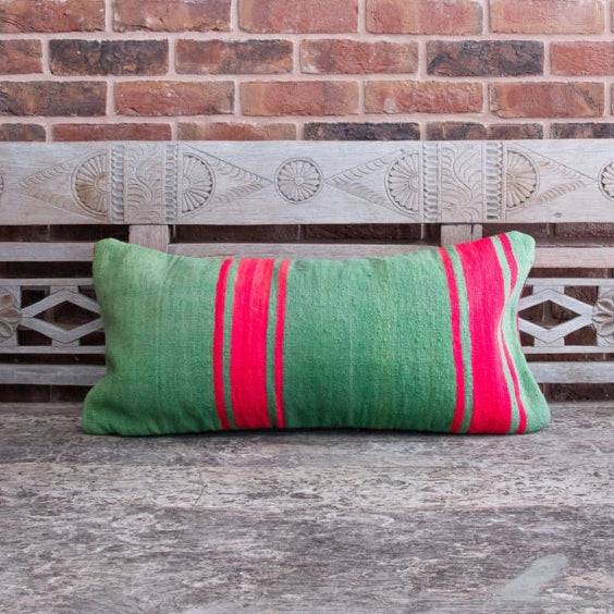 Vintage Berber Large Rectangular Cushion - Stripe Green/Pink/Assorted