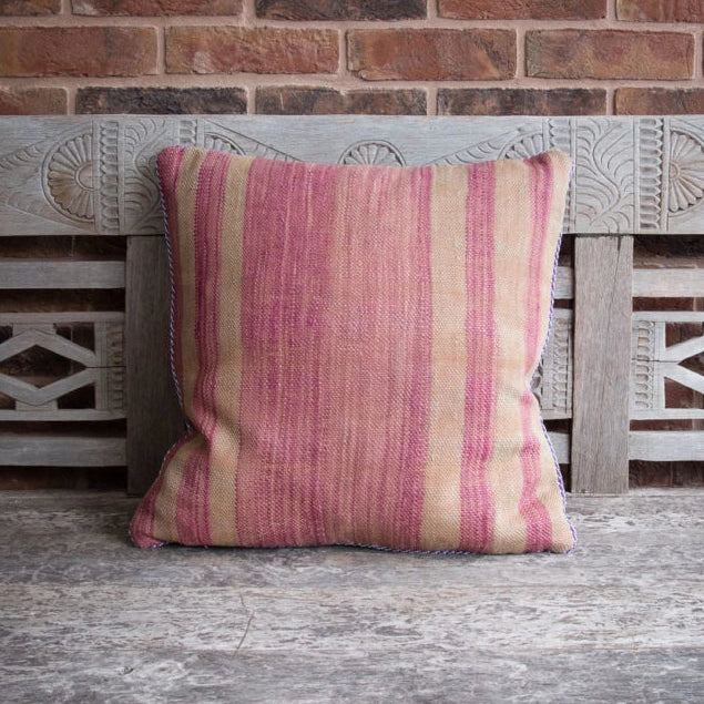 Vintage Berber Medium Square Cushion - Stripe Pink / Assorted