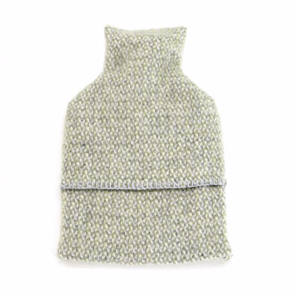 Wool Hot Water Bottle - Green/Grey
