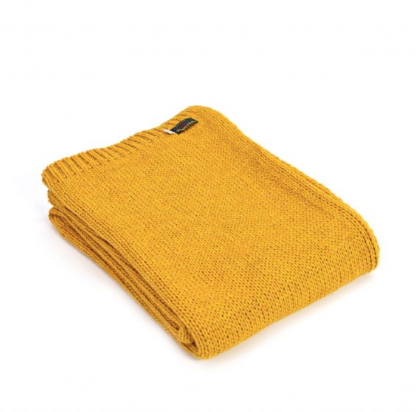 Knitted Alpaca Throw 130x180cm - Mustard