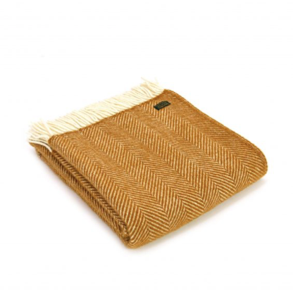 Pure New Wool Throw 150x183cm - Fishbone Mustard