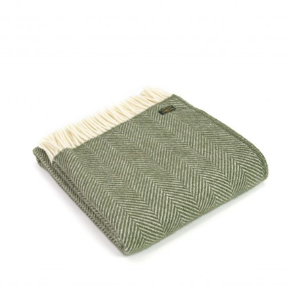 Pure New Wool Throw 150x183cm - Fishbone Olive