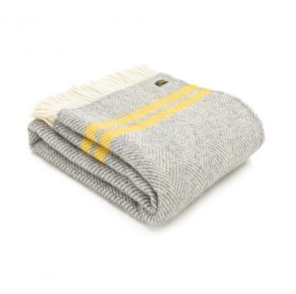 Pure New Wool Throw 150x183cm - Chevron & Stripe - Grey/Yellow