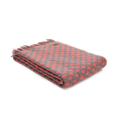 Pure New Wool Throw 150x183cm - Spotted Grey/Cranberry