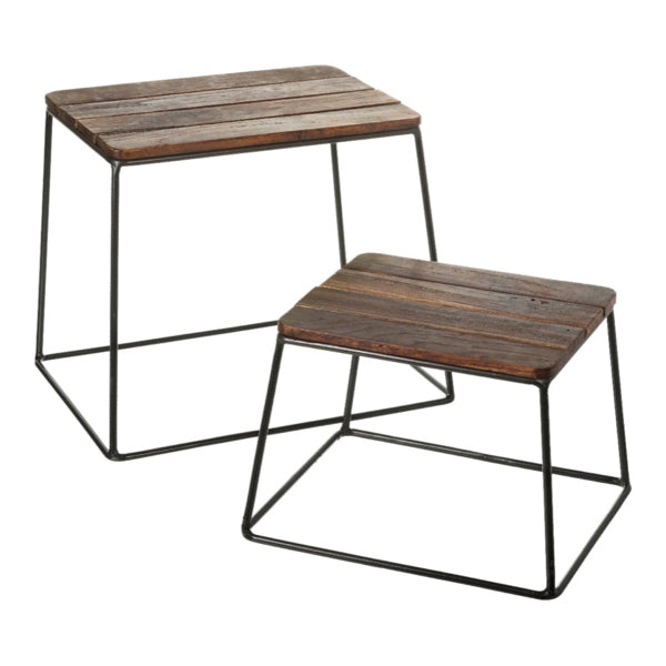 Wooden Stool with Steel Legs