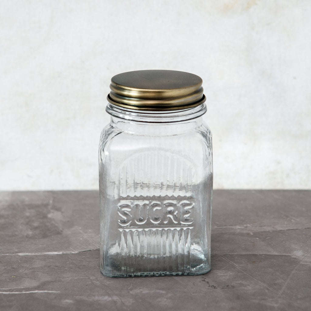 Ribbed Glass Jar - Sugar