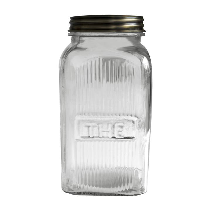 Ribbed Glass Jar - Tea