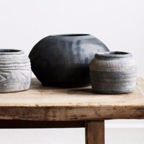 SAYA Handmade Pot in Grey/Brown Concrete