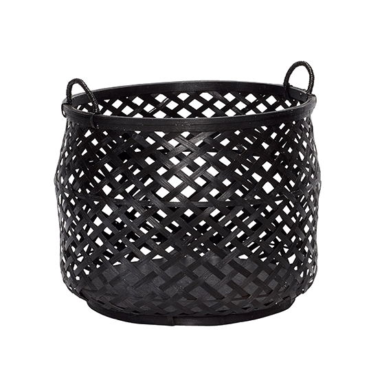 Round Bamboo Basket - Black