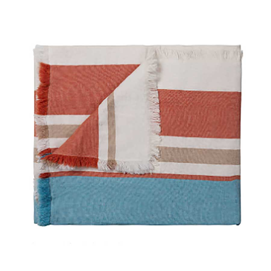 Merino Wool Blend Blanket -  Orange/Aqua
