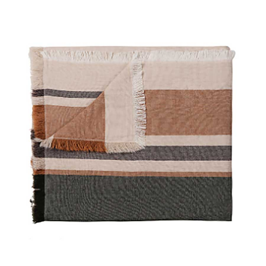 Merino Wool Blend Blanket -  Nutty/Black