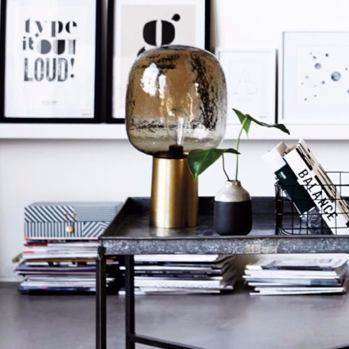 Grey Brass Table Lamp