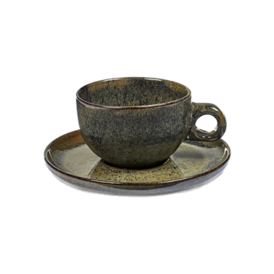 Burnt Grey Cappuccino Cup & Saucer