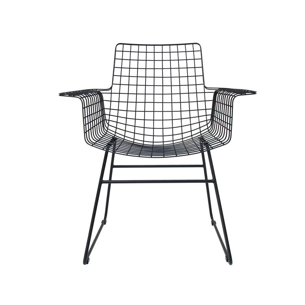 Metal Wire Chair With Arms in Black