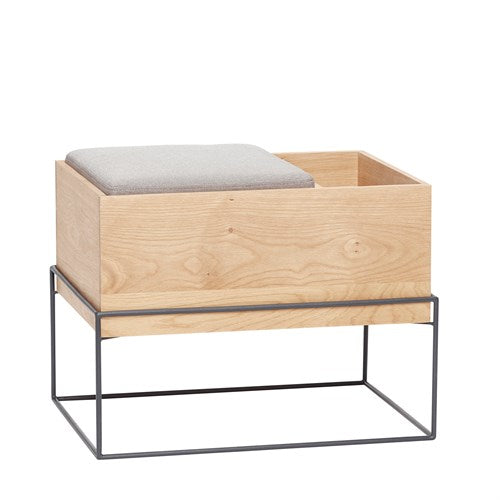 Wood and Metal Storage Bench with Cushion