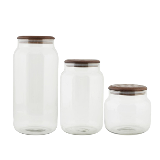 Glass and Oak Storage Jar
