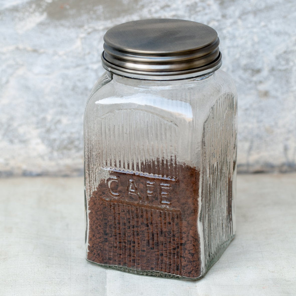 Ribbed Glass Jar - Coffee