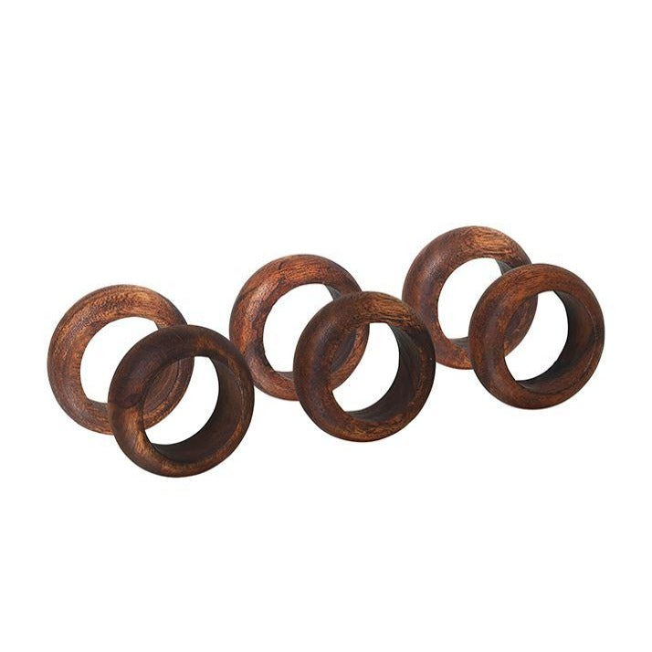 Acacia Wood Napkin Rings - Set Of Six