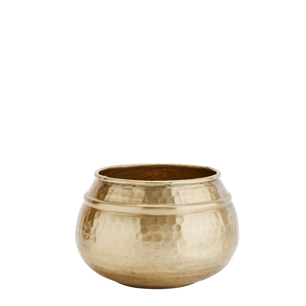 Brass Coloured Hammered Pot/Planter