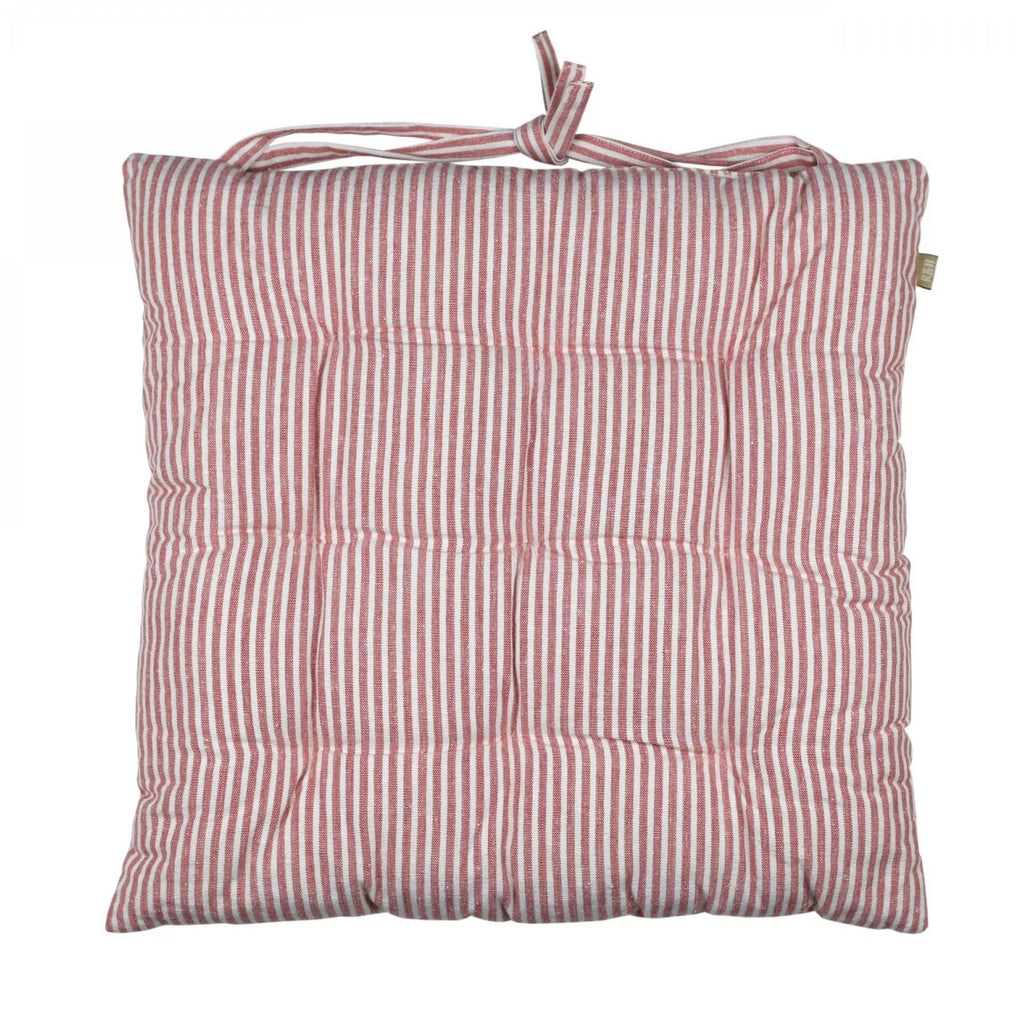 Striped Seat Cushion - Terracotta Red