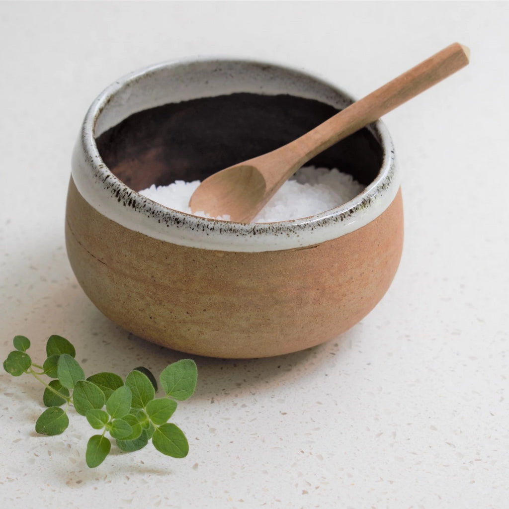Ceramic Salt Cellar / Dip Bowl with Spoon in Tawny Speckle
