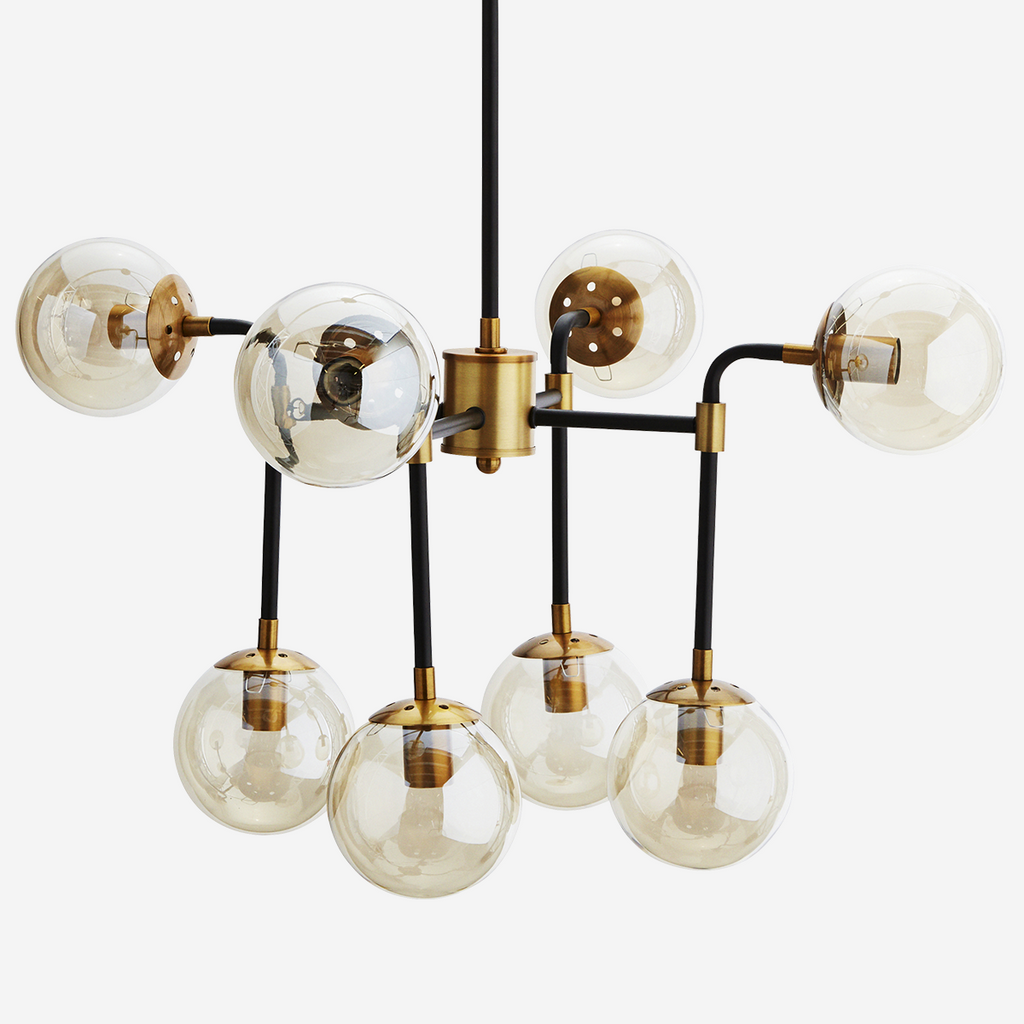 Black Brass and Amber Ceiling Lamp